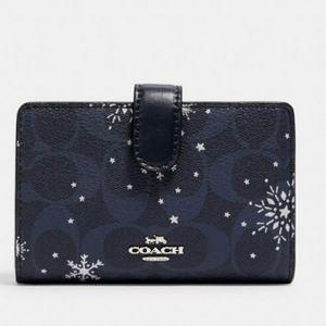 Coach Snowflake Bifold Zip Wallet Blue